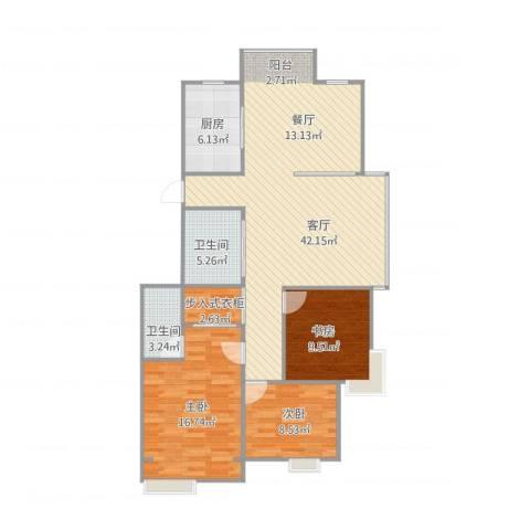 东新园望景苑3室1厅2卫1厨127.00㎡户型图