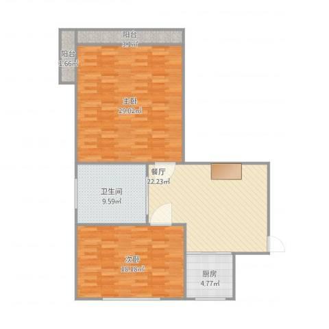 梅园三村2室1厅1卫1厨118.00㎡户型图