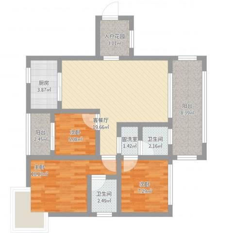 惠民怡家3室2厅2卫1厨100.00㎡户型图