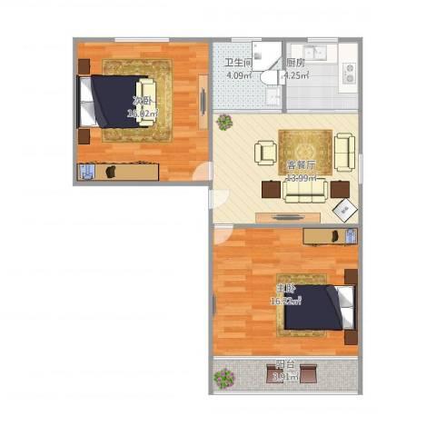 芳雅苑2室1厅1卫1厨79.00㎡户型图