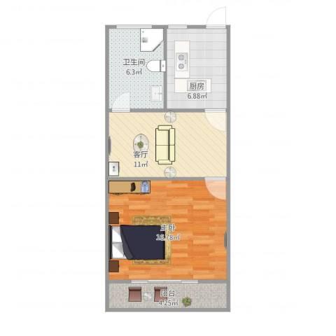 南新三村1室1厅1卫1厨61.00㎡户型图