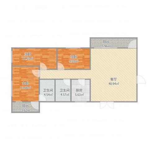华侨花园3室1厅2卫1厨134.00㎡户型图