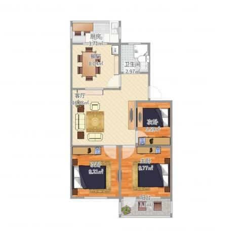 七里堡小区3室2厅1卫1厨80.00㎡户型图