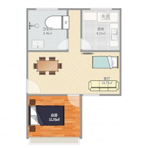 三林世博家园390弄64号401室1室1厅1卫1厨70.00㎡户型图