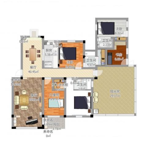 鑫达・风和日丽4室1厅3卫1厨172.00㎡户型图