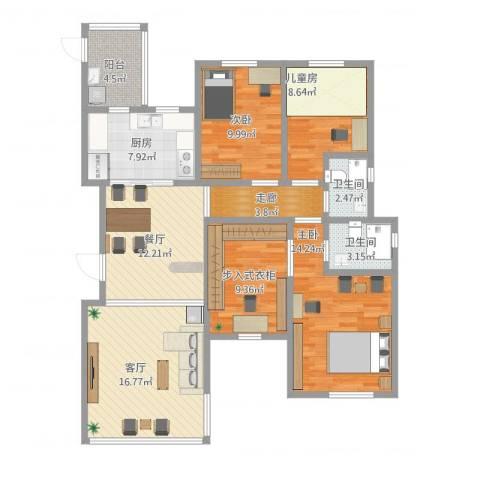 远大都市风景三期3室2厅2卫1厨133.00㎡户型图