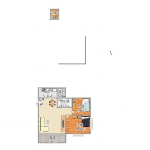 顺德碧桂园西苑2室1厅1卫1厨101.00㎡户型图
