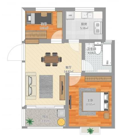 浒墅人家2室1厅1卫1厨65.00㎡户型图