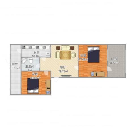 回民小区2室1厅1卫2厨166.00㎡户型图