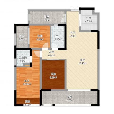 泰悦湾2室1厅1卫1厨139.00㎡户型图