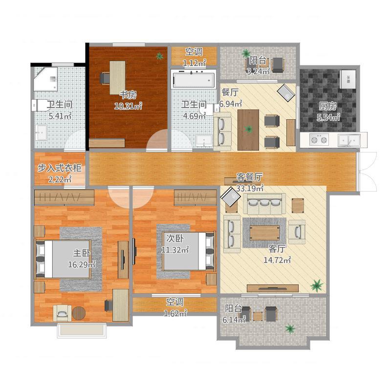 124方2厅3室2卫
