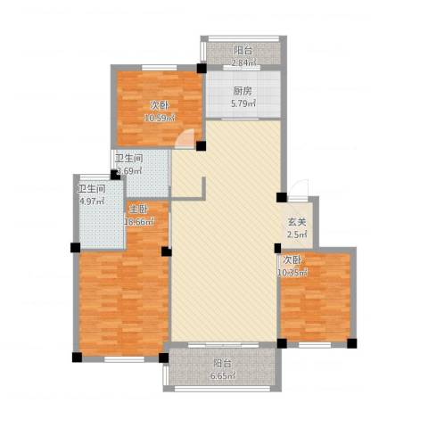 红梅新村3室1厅2卫1厨145.00㎡户型图