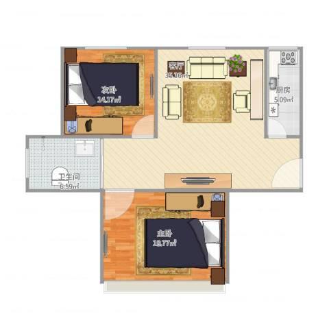 三林世博家园390弄64号401室2室1厅1卫1厨86.00㎡户型图