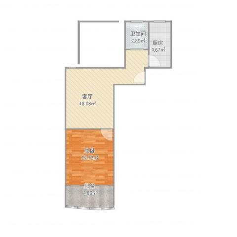 龙蟠花苑1室1厅1卫1厨57.00㎡户型图