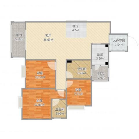 桃源小区3室1厅2卫1厨126.00㎡户型图