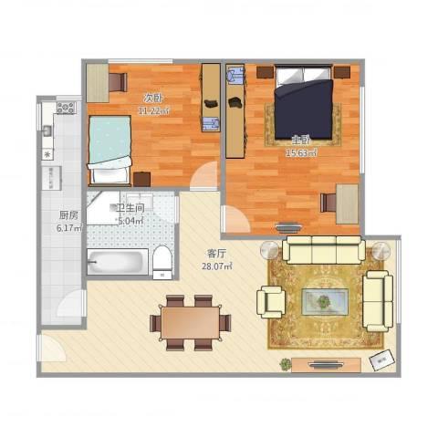东陆新村五街坊2室1厅1卫1厨89.00㎡户型图
