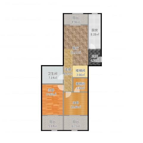 京汉铂寓(石景山)2室1厅1卫1厨123.00㎡户型图