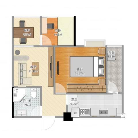 东原D8公馆2室2厅1卫1厨62.00㎡户型图