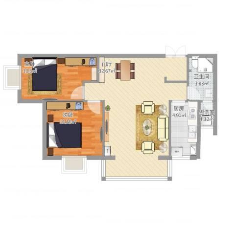 碧阳国际城2室1厅1卫1厨90.00㎡户型图