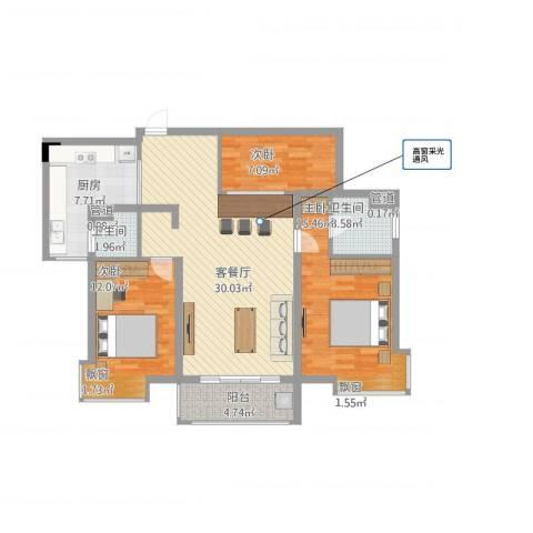 第五元素3室1厅2卫1厨118.00㎡户型图