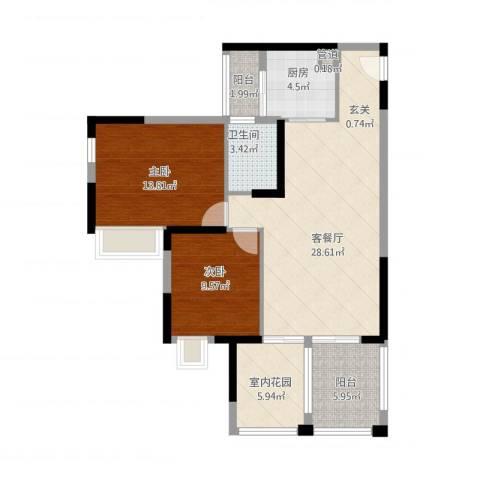 世纪城幸福公馆2室1厅1卫1厨106.00㎡户型图