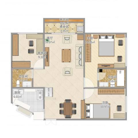 韵琴居3室1厅3卫2厨113.00㎡户型图