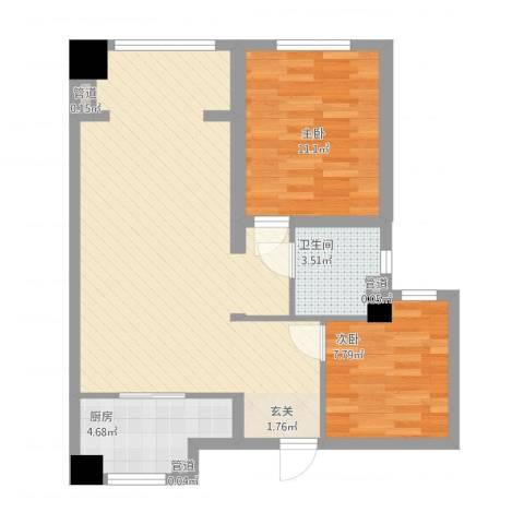 华明星海湾2室1厅1卫1厨87.00㎡户型图