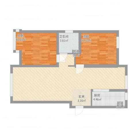 华明星海湾2室1厅1卫1厨99.00㎡户型图