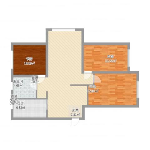 华明星海湾3室1厅1卫1厨116.00㎡户型图