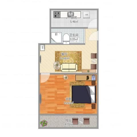 栖山路1861弄小区1室1厅1卫1厨58.00㎡户型图