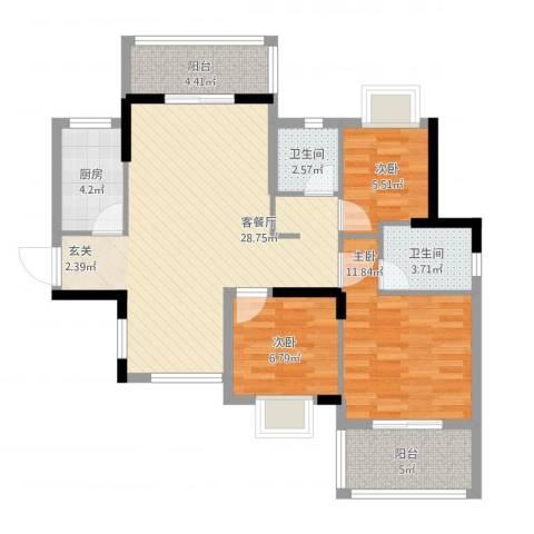 大儒世家绿园3室1厅2卫1厨105.00㎡户型图