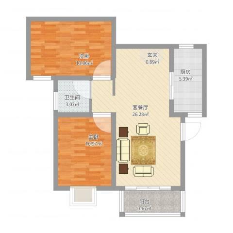 万豪华庭公馆2室1厅1卫1厨90.00㎡户型图