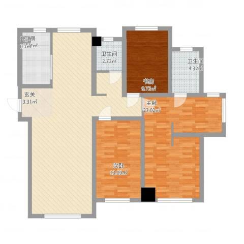 华明星海湾3室1厅2卫1厨146.00㎡户型图