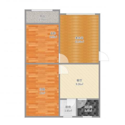 油脂公司宿舍2室1厅1卫1厨69.00㎡户型图