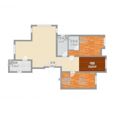 华明星海湾2室1厅2卫1厨136.00㎡户型图
