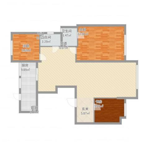 华明星海湾3室1厅2卫1厨159.00㎡户型图