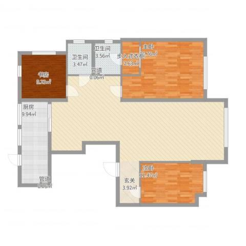 华明星海湾3室1厅2卫1厨157.00㎡户型图