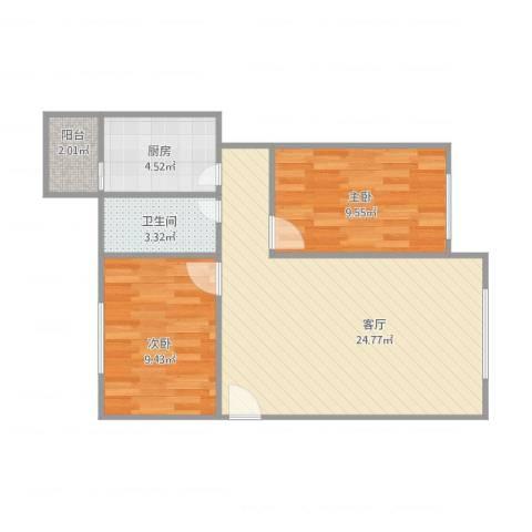 天虹花园28号2室1厅1卫1厨72.00㎡户型图