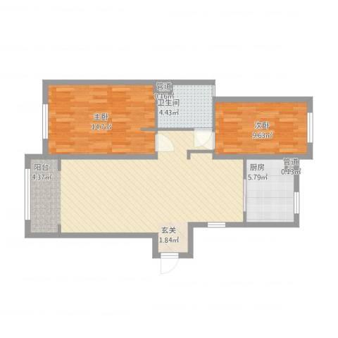 华明星海湾2室1厅1卫1厨97.00㎡户型图
