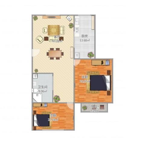 沪东新村2室1厅1卫1厨154.00㎡户型图