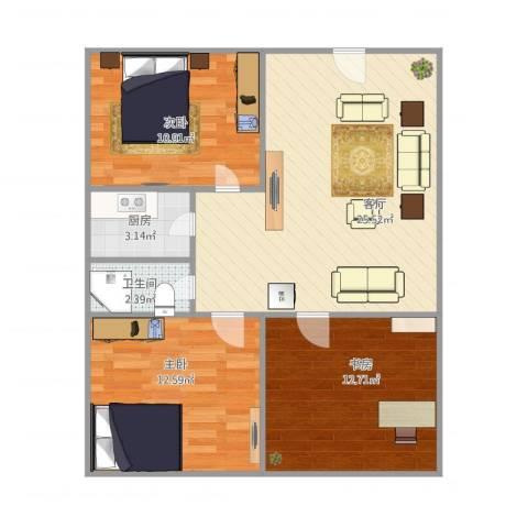 凌兆四村3室1厅1卫1厨90.00㎡户型图