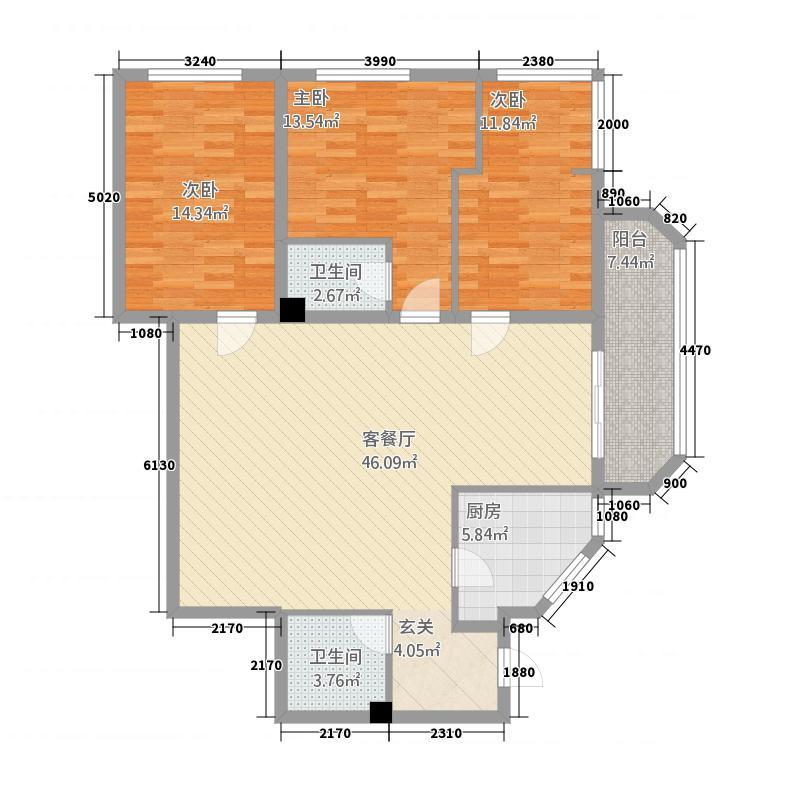丽花城148.12㎡B座0户型3室2厅2卫1厨
