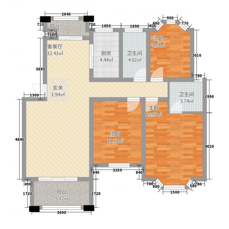 美林湾125.42㎡D户型3室2厅2卫1厨