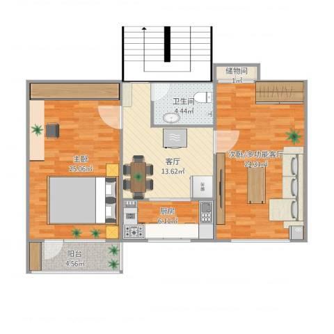 八里庄北里1室1厅1卫1厨106.00㎡户型图