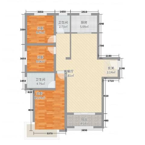 御融公馆3室1厅2卫1厨124.00㎡户型图