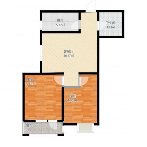 新梅江雅境新枫尚2室1厅1卫1厨80.00㎡户型图