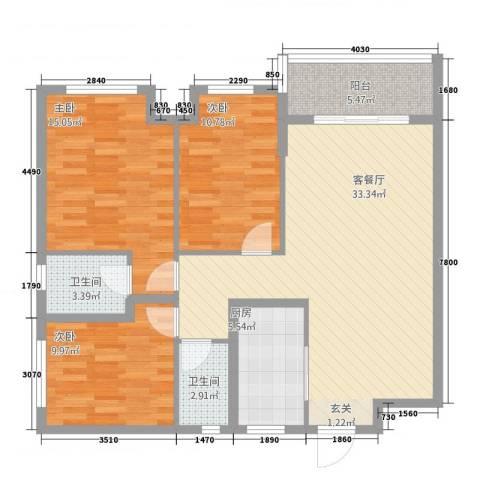 荣旺东方国际3室1厅2卫1厨122.00㎡户型图