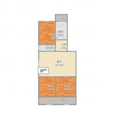 青春路七院3室1厅1卫1厨91.00㎡户型图