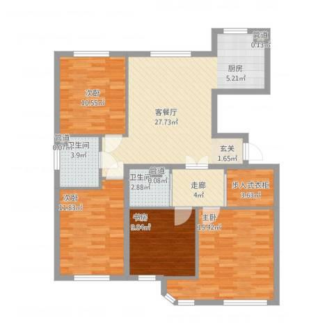 万亿香橙4室1厅4卫1厨126.00㎡户型图