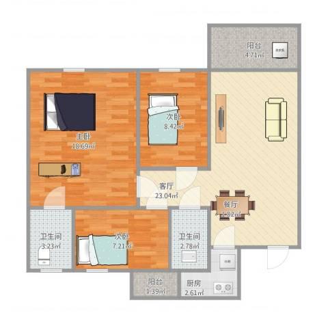 名雅豪庭3室1厅2卫1厨98.00㎡户型图